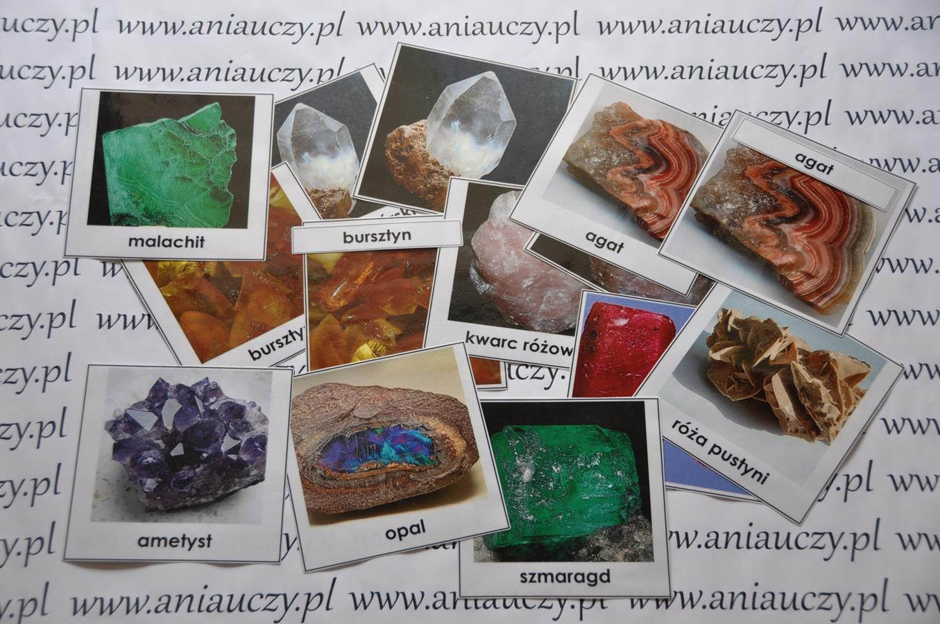 Minerały-karty Montessori